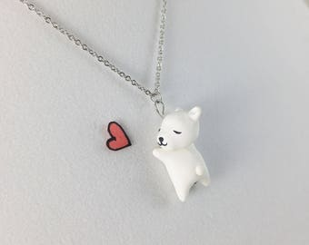 Cute Polar Bear Necklace // Polymer Clay Bear Cub Necklace // Polar Bear Figurine
