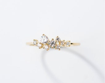 Delicate Cubic Zirconia engagement ring in 14k solid gold, Thin engagement ring