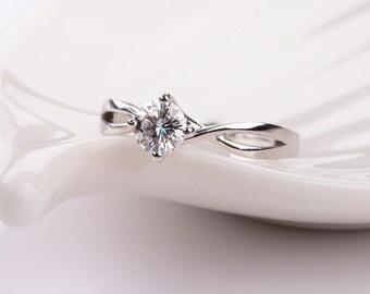Minimal Moissanite Engagement Ring in 14k White Gold Twist Band, Diamond Alternative engagement ring,