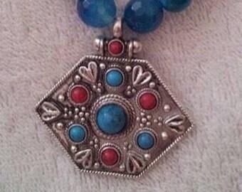Silver hexagon necklace
