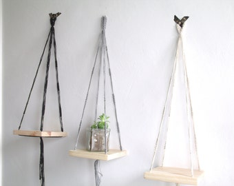 Set of 3 Mini shelves Macrame hanging black gray and white