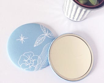 Pocket mirror, small mirror, round mirror, mirror accessory, blue beauty, illustration, cotton bag, summer, gift idea