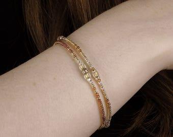 Dainty Gold Friendship Bracelet Set, Delicate Layering Bracelet Set, Gold Crystal Bead Bracelet, BFF Gold Fill, Tiny Boho, Gift for her