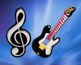 Music note Patch Guitar Patch Patches Iron On Patch Set Appliques Embroidered Patches