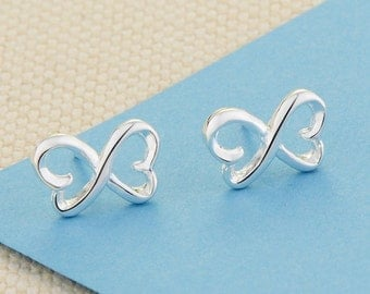 Silver stud earrings, Silver plated womens earrings, 925 sterling silver plated earrings, 925 stamp, Infinity symbol, Romantic earrings A43