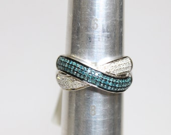 0.50ctw Blue Diamond and White Diamond Ring Size 7 925 Sterling Silver