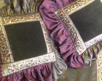 Decorative pillows and table cloth, velvet, taffeta, organza trimmings