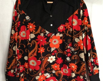 Vintage 1970's Black Floral Print Crepe Shirt Collar Smock Top -  UK Size 10 to 14