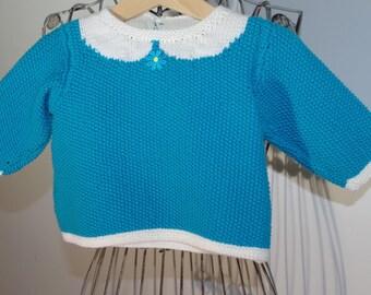 Sweet turquoise Merino baby sweater
