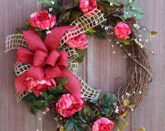 Welcome Wreath, Spring Wreath, Peony Wreath, Summer Wreath, Grapevine Wreath, Front Door Wreath, Housewarming Gift, Rustic Wreath, Gift