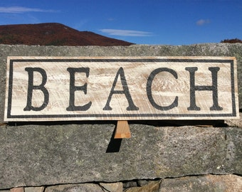 Beach sign, rustic, vintage appearance