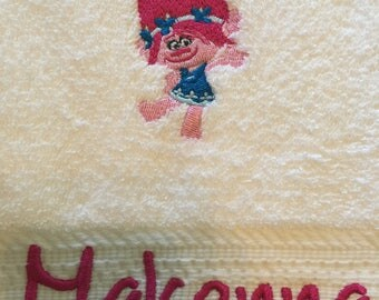 Personalized towel, Personalized bath towel, Character towel, Personal beach towel, Personalized character towel, Embroidered towel, Trolls
