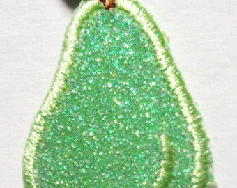 Embroidered Iron-On Applique Sparkle Pear, 1 x 1+1/2 inch