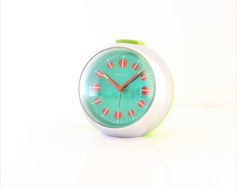 Blessing/Alarm Clock/Space Age/Design/1970s /Green Alarm Clock/Atomic Alarm Clock/West Germany/Desk Alarm Clock