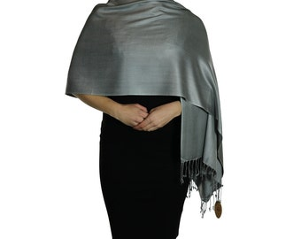 Dark Silver Grey Ladies Pashmina Scarf Wrap Shawl Stole - Tassel Finishing - Handmade
