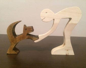 Brown playful cat/wood sculpture/figurines