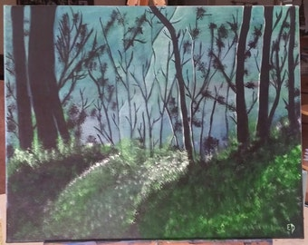 PRICE REDUCED** Misty Forest Painting Sunbeam 16X20 Acrylic Canvas Art Wall Home Office Decor