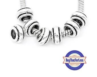"""Silver """"Stripe"""" Beads, Alloy, 8 pcs +FREE Shipping & Discounts*"""