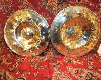 A Pair of Brass Plates, Fruit or Cake Bowls or Ornaments  your choice