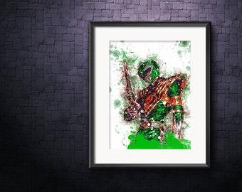 Green Ranger Poster, Power Ranger Wall Art, Tommy Oliver Print, Green Ranger Giclee, Power Ranger Watercolor, Mighty Morphin Power Rangers