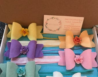 Medium pastel flower hair bows