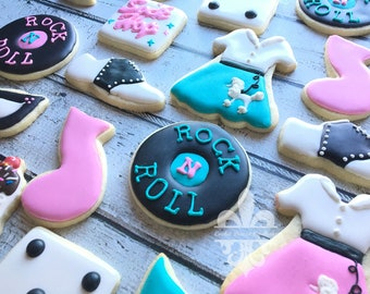 1 Dozen 1950's Sock Hop Decorated Cookies