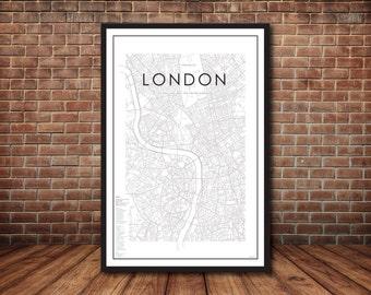 Map of London, London, London Map, London Print, Map Poster, England Map, England Print