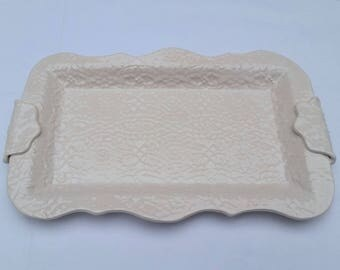 12-inch handmade pottery platter, white with lace impressed