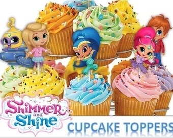 Printable. Shimmer and Shine Cupcake Toppers,Shimmer and Shine Party, 6 Designs Cupcake Toppers, Digital, Printable, Children Party
