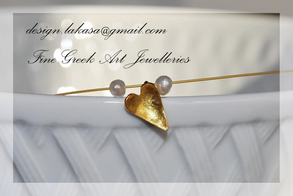Heart Necklace Silver 925 Gold Plated Jewelry with Pearls Lakasa e-shop gifts for her birthday Valentine's Day love girlfriend