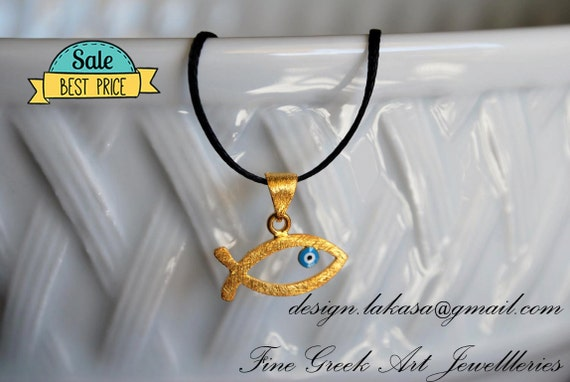 SALE fish enamel eye necklace sterling silver gold jewelry best gifts ideas for her birthday mother newborn baby girl children baptism OFFER