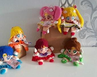 Full Set Sailor Moon Plush Doll Toy Super Sailor Moon , Super Chibi Moon , Mercury , Mars , Jupiter & Venus Banpresto Collection