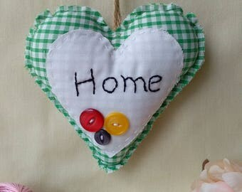 Green gingham fabric hanging heart, Decoration, Home deco, Gift