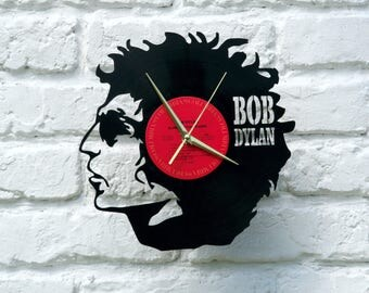 Bob Dylan vinyl record wall clock, ideal for home decor, unique gift and hand made art, interior design for music fan, 017