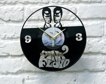 Pink Floyd vinyl record wall clock, ideal for home decor, unique gift present and hand made art, interior design for music fan, 014