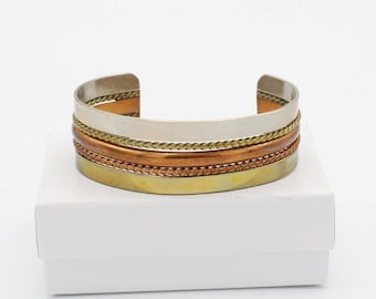 Mixed Metal Mexican Cuff Bracelet