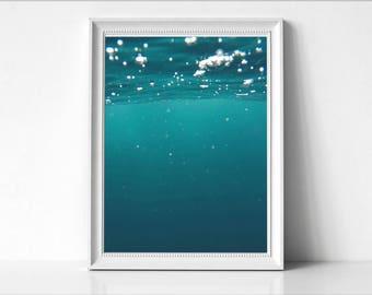 Underwater Art Print, Sea Water Photo, Large Poster, Modern Minimal, Green Water, Beach Coastal Decor, Ocean, Inside Water Art Photo,