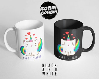 Caticorn with Hearts Coffee Mug, Cat Coffee Cup, Tea Mug-Cute Cat Mug-Funny Gifts for Friends-Funny Mug-Cat Unicorn Mug, Black and White