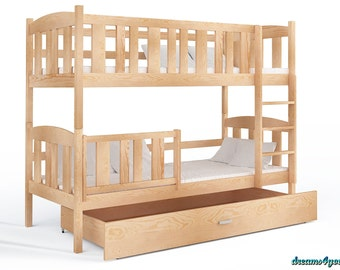 Bunk bed for kids children 184x80 cm drawer free mattresses VERY GOOD QUALITY