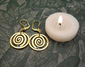 Gold Spiral Earrings, Spiral Earrings, Dangle Spiral Earrings, Turquoise Spiral Earrings, Gold Plated Earrings, Everyday Earrings, Swarovski