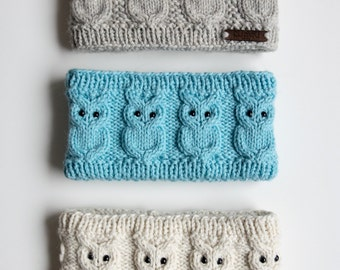 Knit owl headband