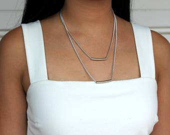 Silver Layered Pipes Necklace