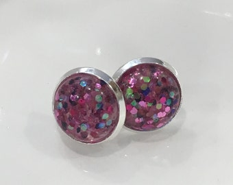 12mm glitter studs in silver tone setting