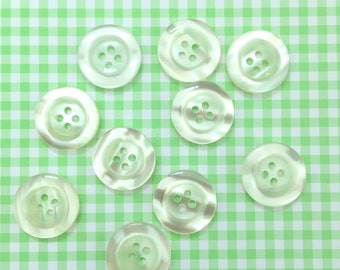 10x transparent white buttons 20mm