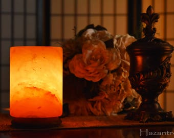 Hazantree Natural Himalayan Salt Rock Lamp- A Salt Column Crystal lamp in Cylinder Design with UL certified dimmer switch; Great gift