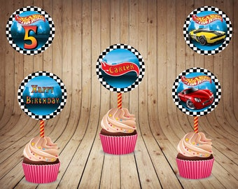 Hot Wheels Cupcake Toppers - Hot Wheels Stickers - Logos - Hot Wheels 2.5 inch Round Stickers - Hot Wheels Party Tags