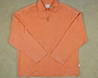 Vintage 90S Nice R.Newbold Fishermans Smock Orange Colour Long Sleeve T-Shirt Adult