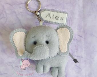 Felt and felt Elephant Keyring