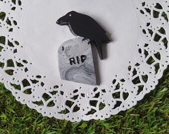 Memento Mori Raven Tombstone Brooch // gothbilly goth alternative emo psychobilly morbid crow grave death accessories