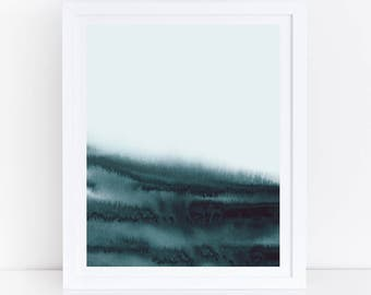 Teal Abstract Art, Teal Print, Teal Wall Art, Sea Green Printable Art, Teal Watercolor Art, Abstract Watercolor Print, Ocean Print, Abstract